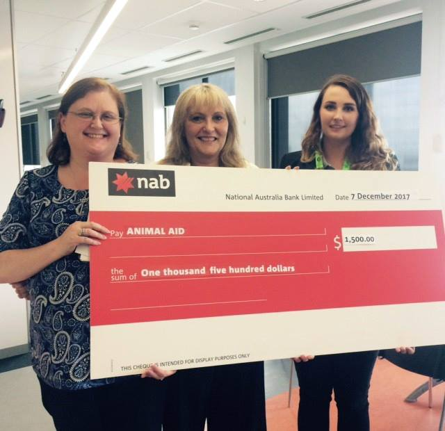Cheque for Animal Aid raised by the community